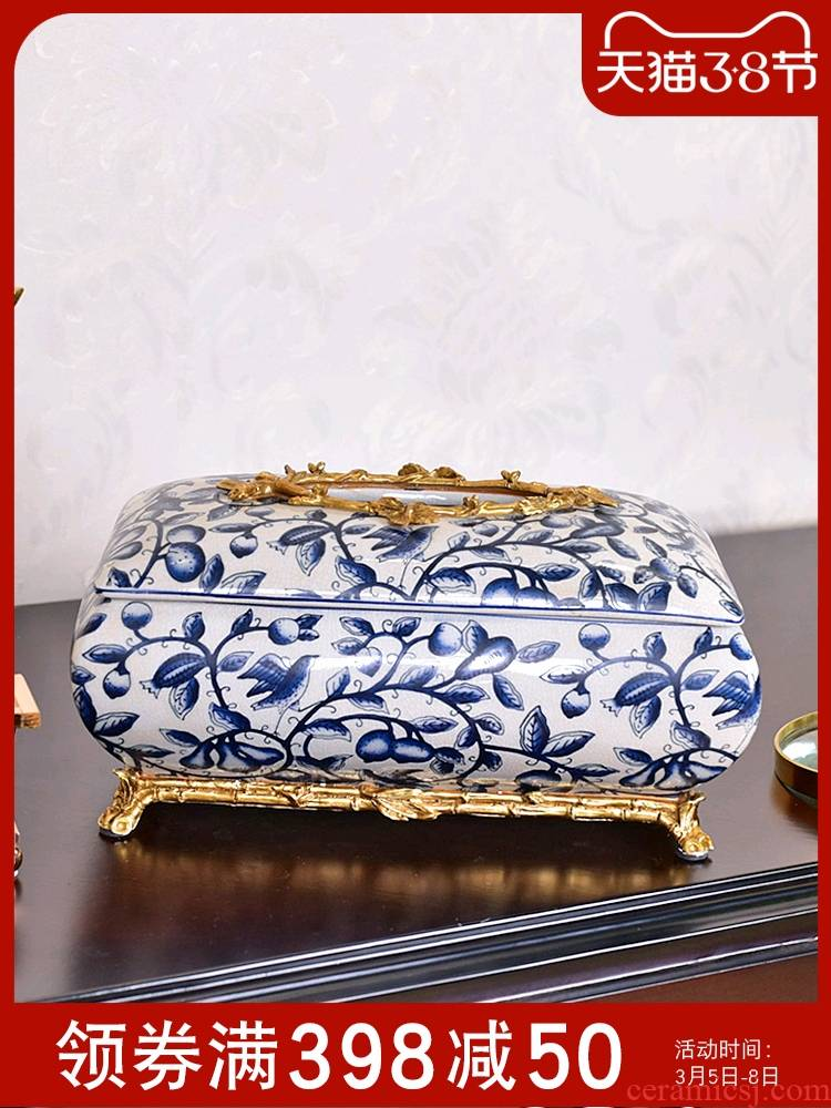 The New Chinese blue and white porcelain ceramic light much wind tissue boxes sitting room tea table dining - room table household decorative furnishing articles paper box