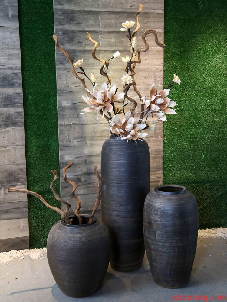 Jingdezhen coarse pottery restoring ancient ways of large vase large pottery decorative floral furnishing articles hotel club villa receptacle
