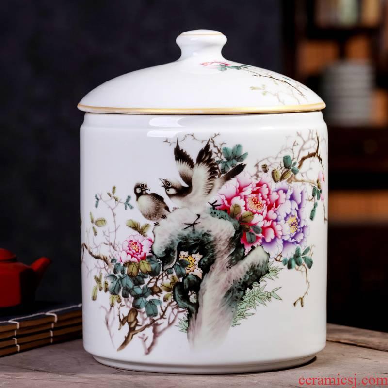 Jingdezhen ceramic seal pot pu 'er tea cake large receives the eighth cake gift porcelain tea pot