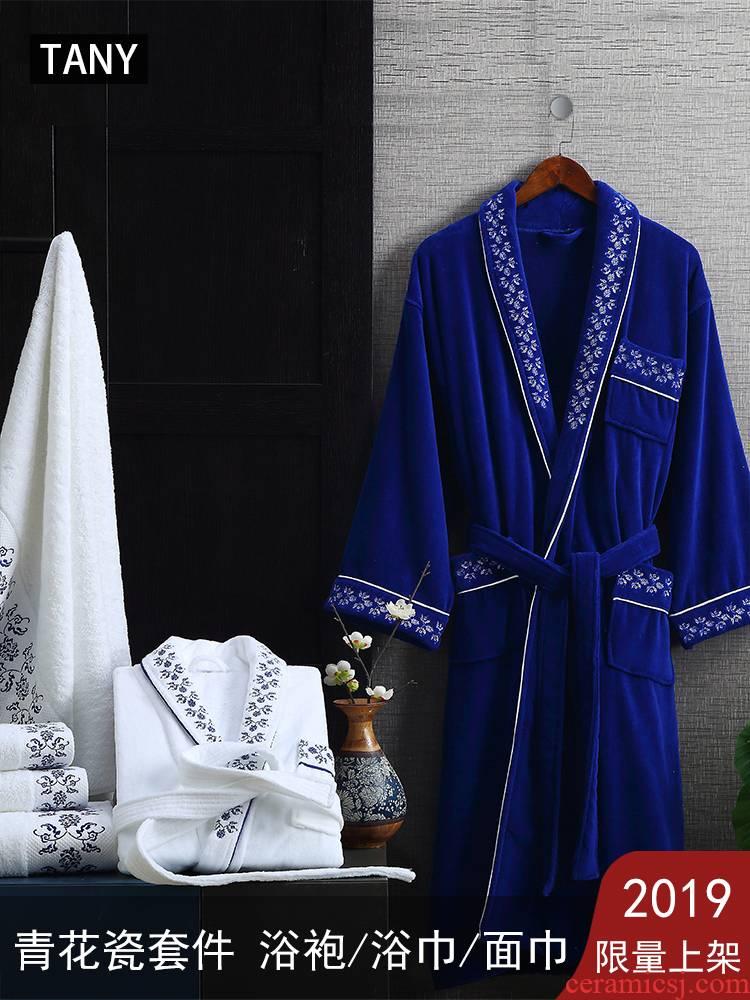 Blue and white porcelain cotton bathrobe bath towel towel material suite robe bathrobe cotton 2019 limited launched couples men and women