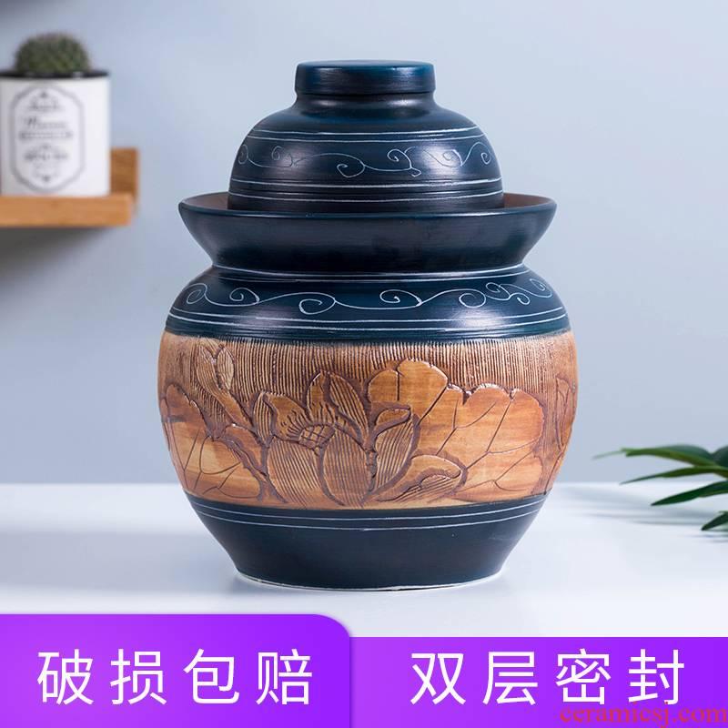 Jingdezhen ceramic pickle jar ceramic home flooded in sichuan pickle jar mini little pickle jar