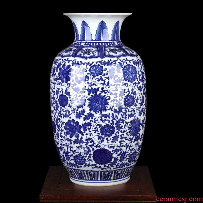 Jingdezhen ceramics large blue and white vase put lotus flower idea gourd bottle home sitting room adornment TV ark, furnishing articles