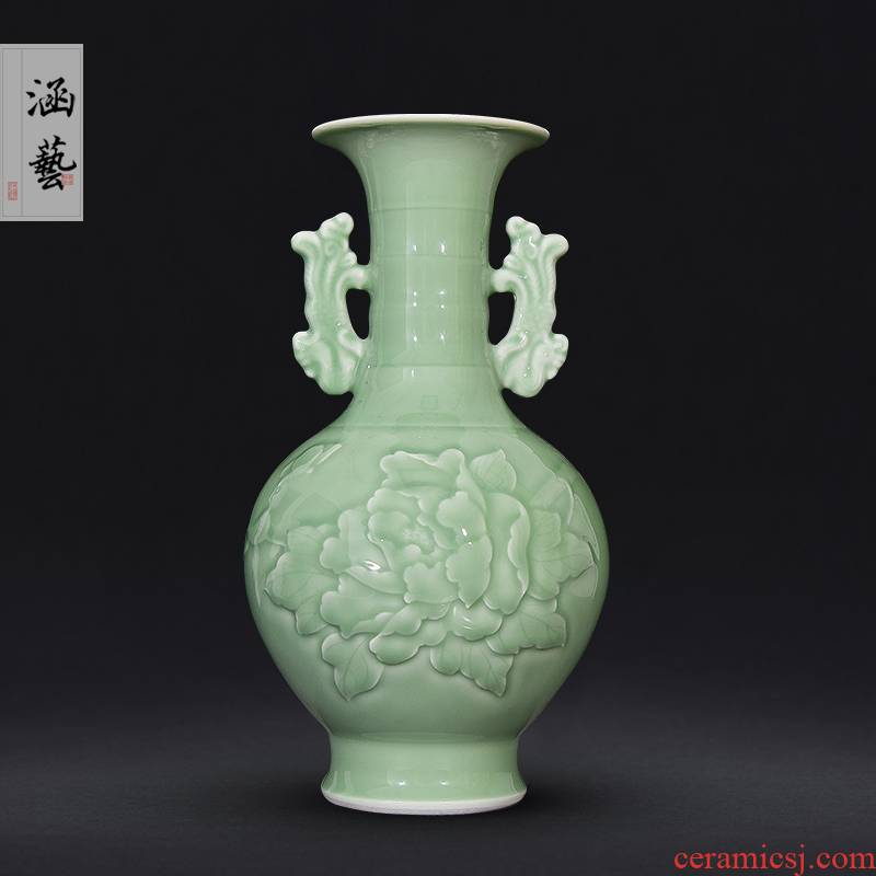 Shadow of jingdezhen ceramics green ears peony vases, new Chinese style flower arrangement sitting room decoration carving furnishing articles of handicraft