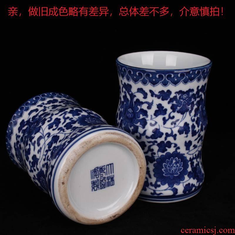 Archaize of jingdezhen porcelain qianlong blue tie up branch grain square brush pot four desk supplies table ano adornment furnishing articles