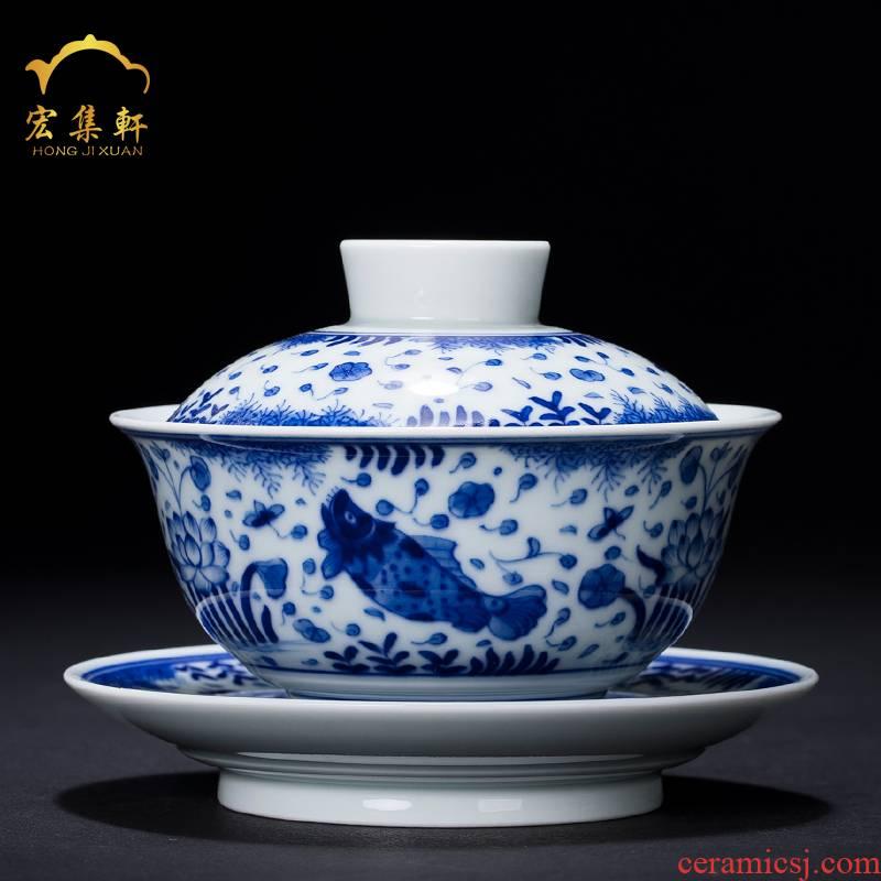Fish and algae grain tureen hand archaize tureen of blue and white porcelain of jingdezhen ceramic tea set three cups to tureen tea bowls