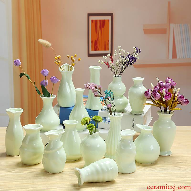 Ceramic celadon vase continental fresh lily hydroponic copper grass dried flowers flower arrangement sitting room home desktop furnishing articles