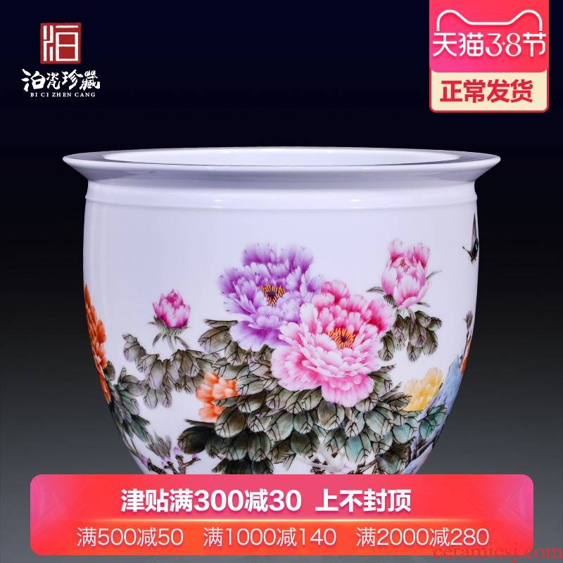 Jingdezhen ceramics hand - made powder enamel new Chinese style household to decorate the sitting room of large cylinder collection cornucopia