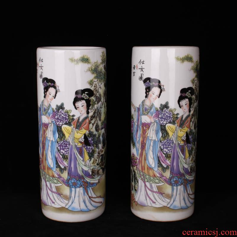 Jingdezhen pastel had ancient costume beauty ceramic cap tube quiver when drawing tube Chinese wind household adornment furnishing articles