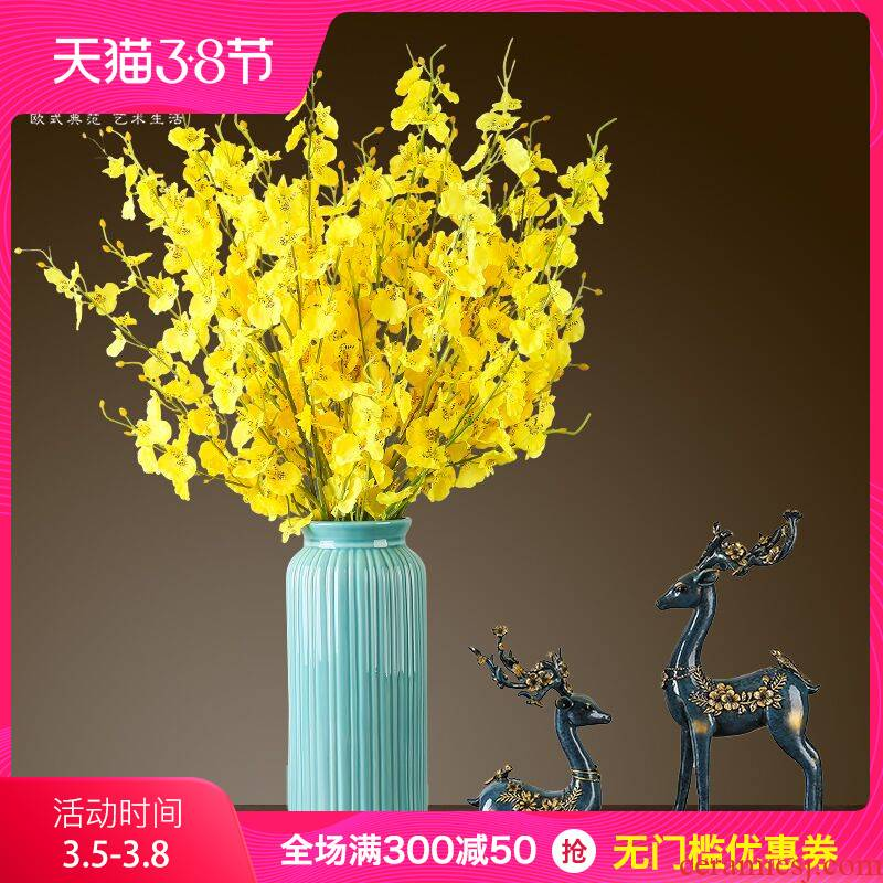 European furnishing articles ceramic simulation flowers, dry flower vases, I and contracted creative living room TV cabinet table vase