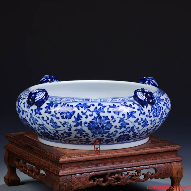 Jingdezhen ceramics furnishing articles sitting room decorate gifts antique hand - made of blue and white porcelain vase XiCha writing brush washer water washing