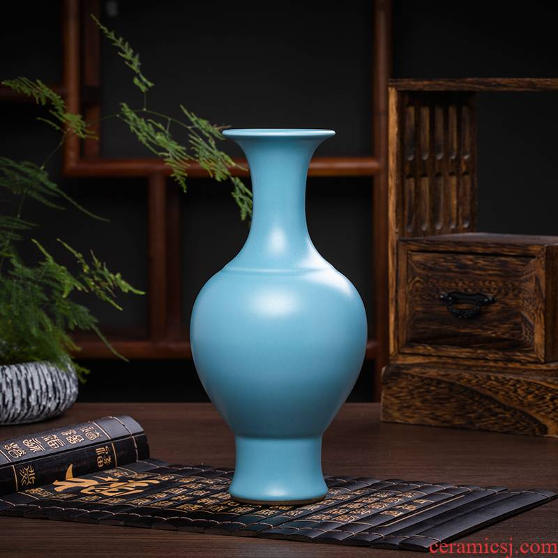 Jingdezhen ceramics antique red blue floret bottle furnishing articles Chinese wine sitting room adornment table flower decoration