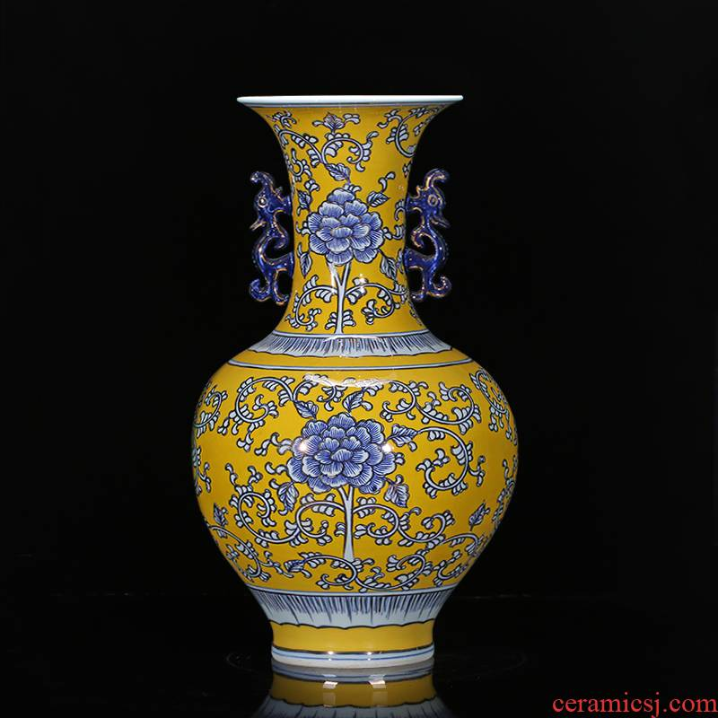 Jingdezhen chinaware paint hand - made yellow antique Chinese blue and white porcelain vase to the sitting room TV cabinet decorative furnishing articles