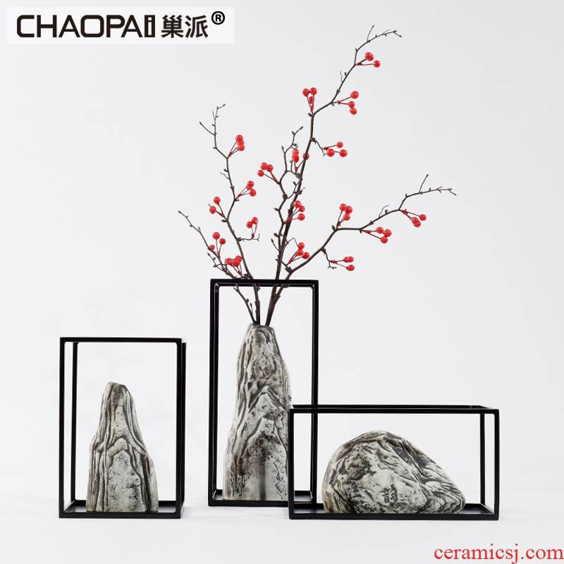 New Chinese style restoring ancient ways do old rockery modelling ceramic flower arranging flower implement furnishing articles sitting room porch TV ark, adornment