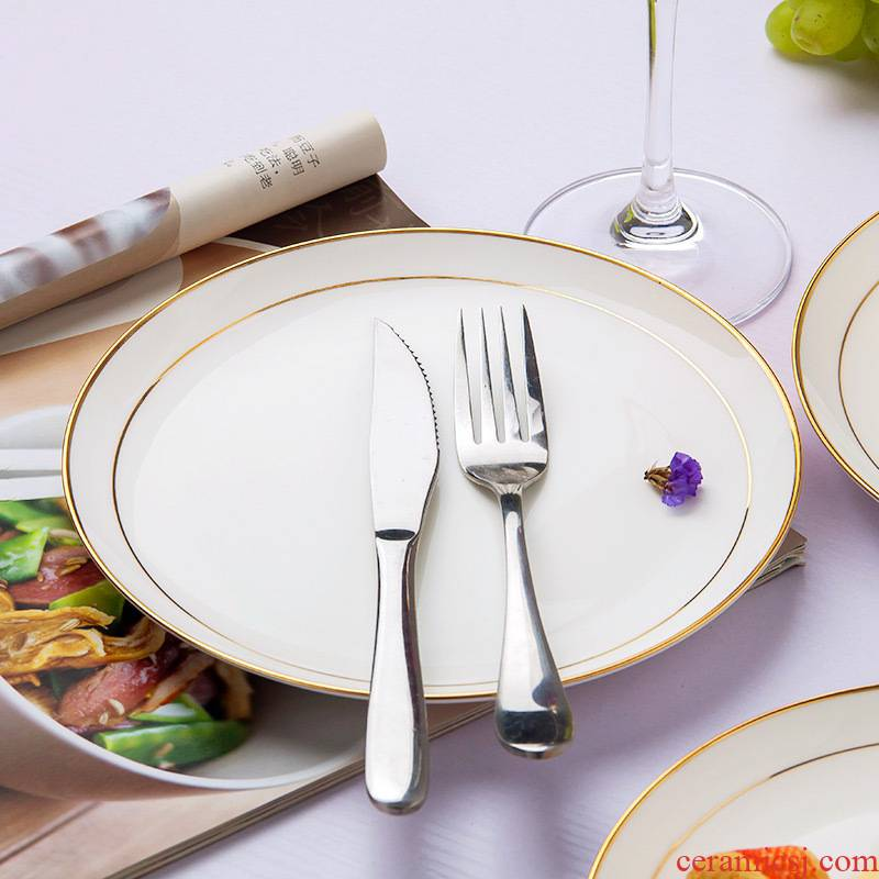 Western style up phnom penh jingdezhen ceramic plate of creative household utensils ipads porcelain plates disc beefsteak plate plate