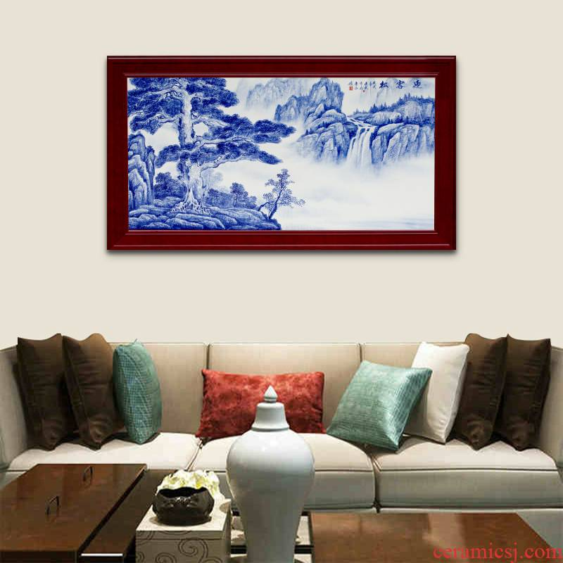 Guest - the greeting pine mural sofa setting wall of blue and white porcelain jingdezhen ceramics sitting room adornment picture of modern Chinese style hang a picture