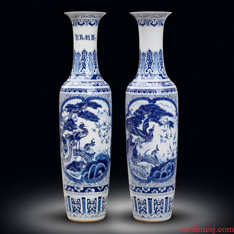 Jingdezhen blue and white porcelain painting birds pay homage to the king of large vase home sitting room place hotel opening gifts
