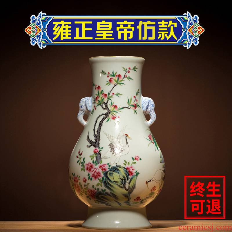 Ning hand - made antique vase seal up with jingdezhen ceramic bottle furnishing articles pastel ears statute of new Chinese style antique porcelain