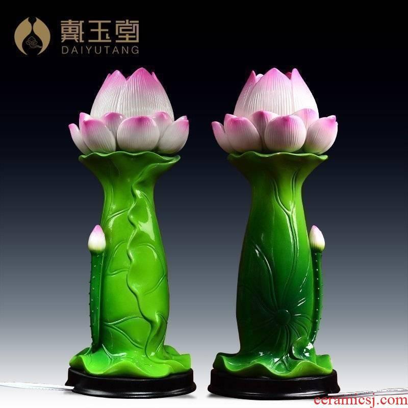 Yutang dai ceramic lotus Buddha lotus GongDeng before Buddha GongDeng ('m lamps for Buddha lamp 11 inch lotus the lantern furnishing articles