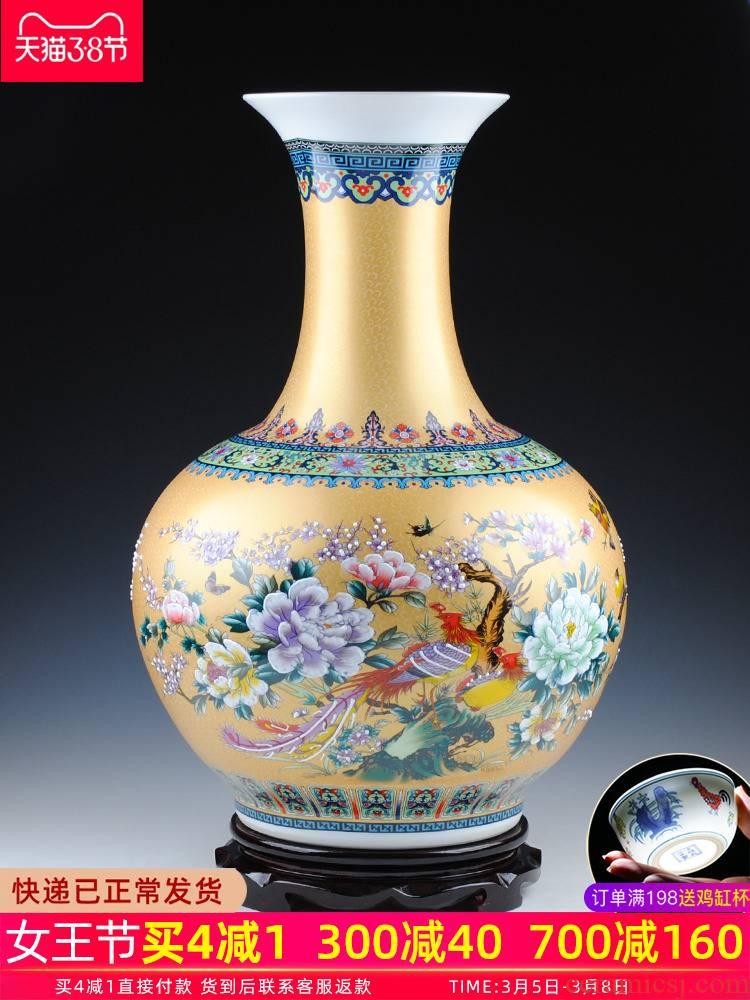 Jingdezhen ceramics of large vase furnishing articles large European colored enamel porcelain household adornment of I sitting room