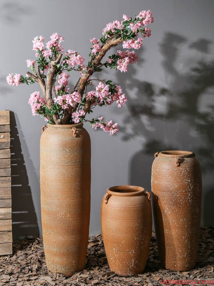 Jingdezhen ceramic of large vases, flower implement simulation flower arranging dried flowers sitting room adornment is placed to restore ancient ways pottery basin
