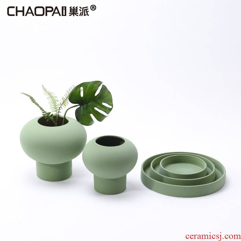I and contracted plain green grinding ceramic vase tray was furnishing articles sitting room dining - room table flower implement soft decoration