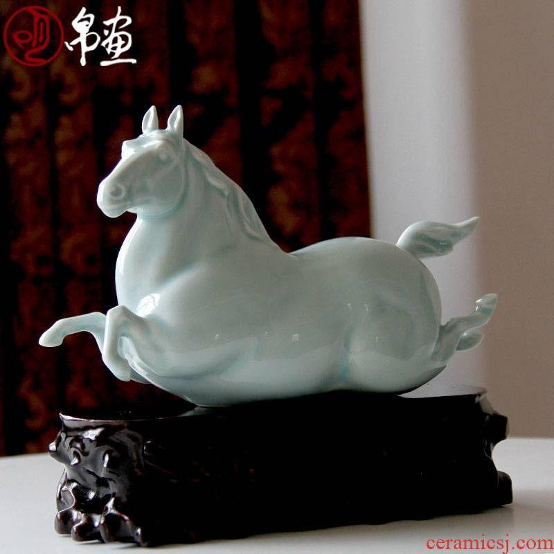 Jingdezhen ceramic horse furnishing articles celadon auspicious household manual its sitting room porch success of feng shui