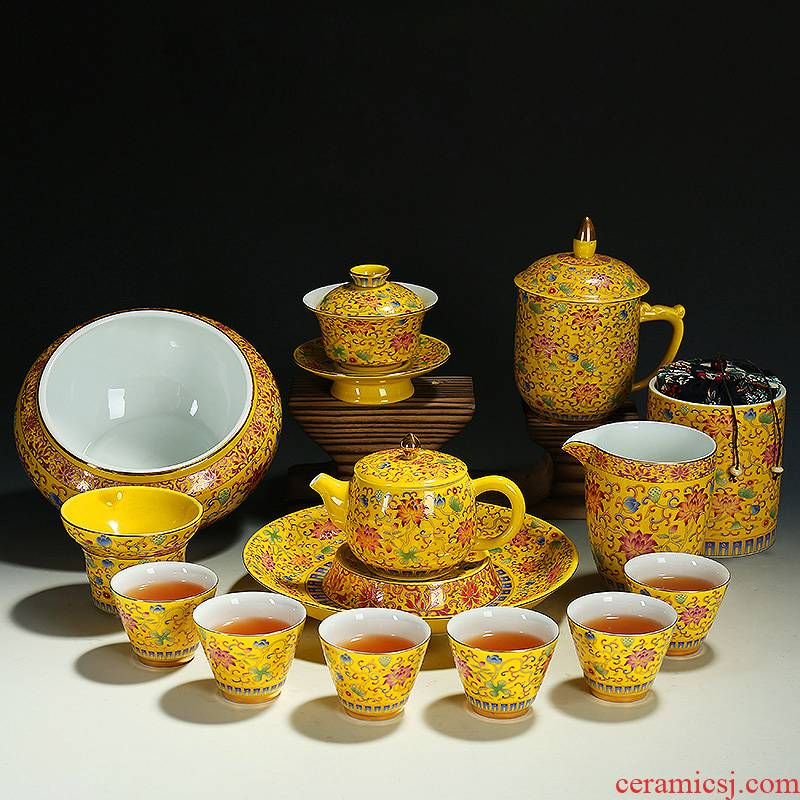 Manual pick flowers kung fu tea set lid bowl of household contracted colored enamel porcelain tea sets restoring ancient ways