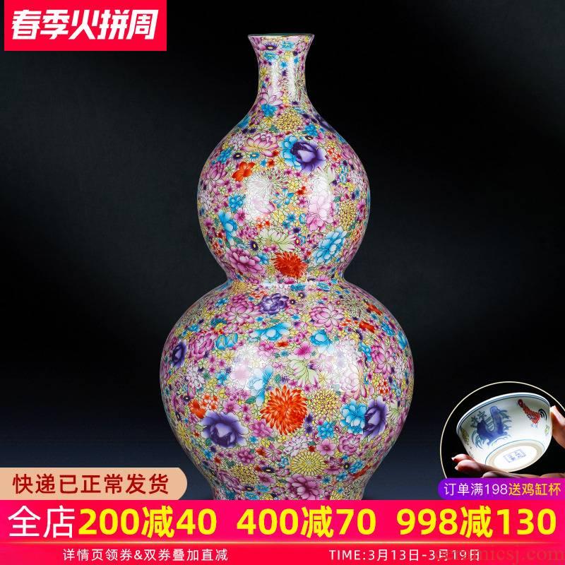 Jingdezhen ceramics vase landing large gourd sitting room flower arranging modern furnishing articles porcelain home decoration