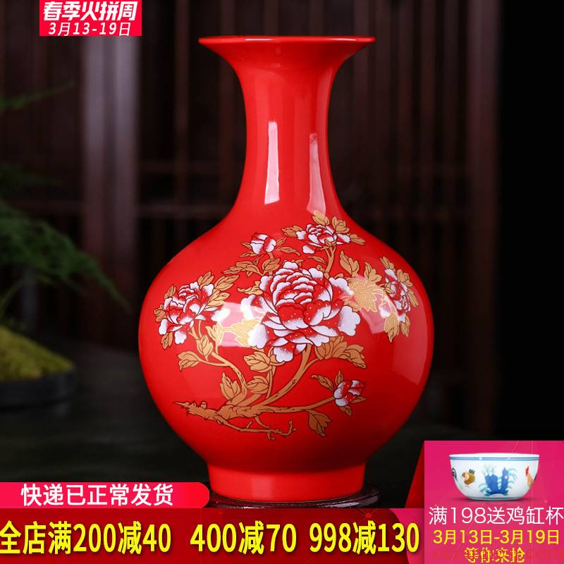 Jingdezhen ceramics China red vase furnishing articles sitting room of modern Chinese style wedding flower arranging home wine accessories