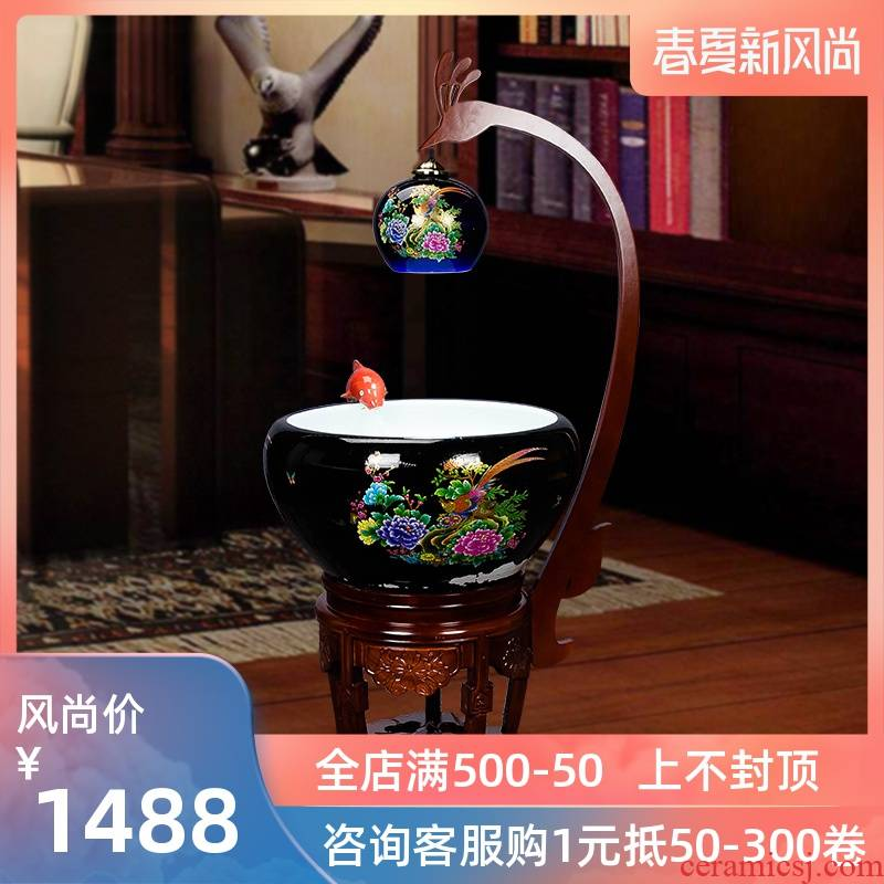 Super - large jingdezhen Chinese penjing ceramic porcelain home sitting room aquarium fish basin cycle indoor a goldfish bowl with lamp