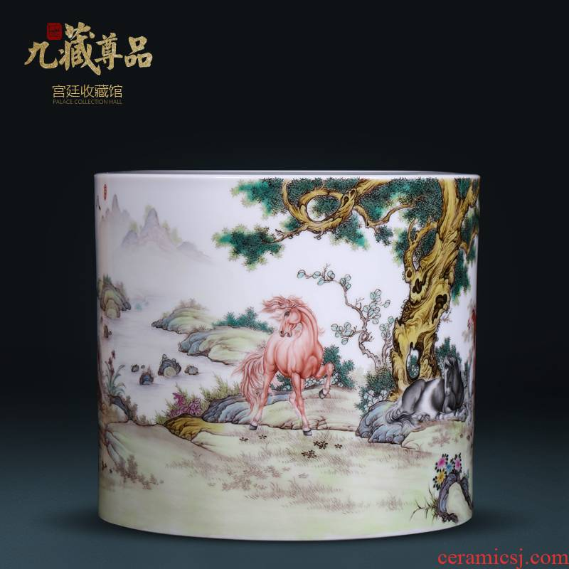 Jingdezhen ceramics hand - made pastel figure 8 pen container furnishing articles of Chinese style classical sitting room porch TV ark, flower arrangement