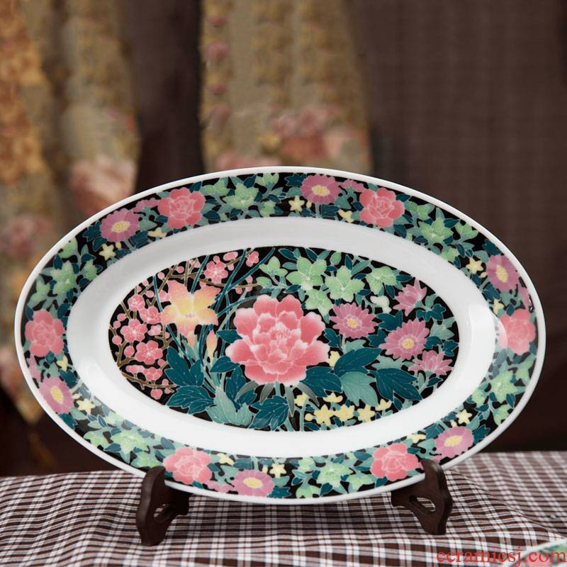 China red porcelain up with hong mei good/lotus flower 14 inches fish dish hand - made ceramic liling porcelain packing