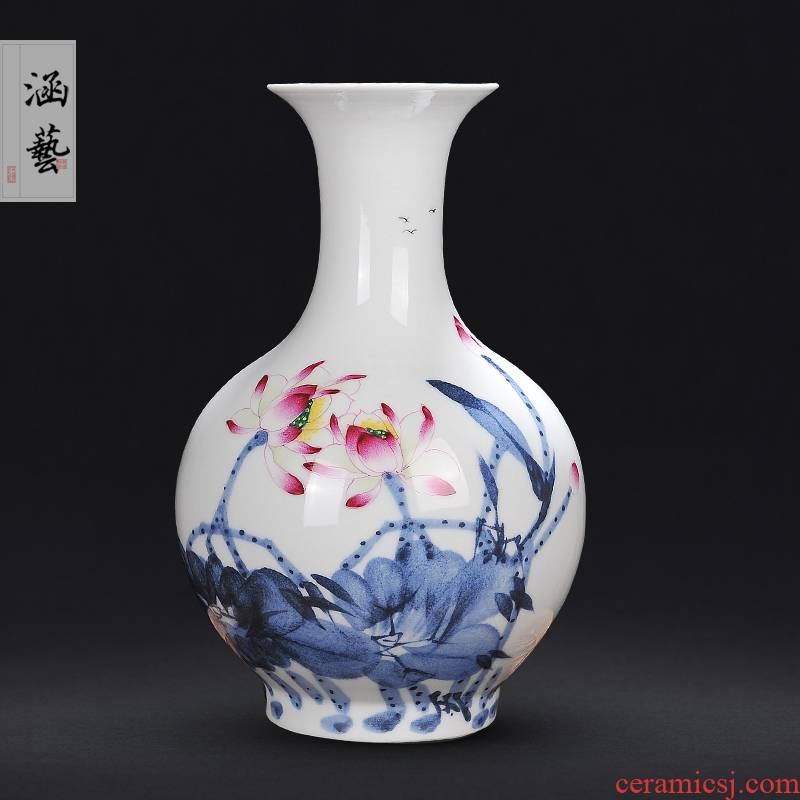 Jingdezhen ceramic hand - made rhyme charge of blue and white porcelain vases, new Chinese style household flower arrangement sitting room adornment handicraft furnishing articles