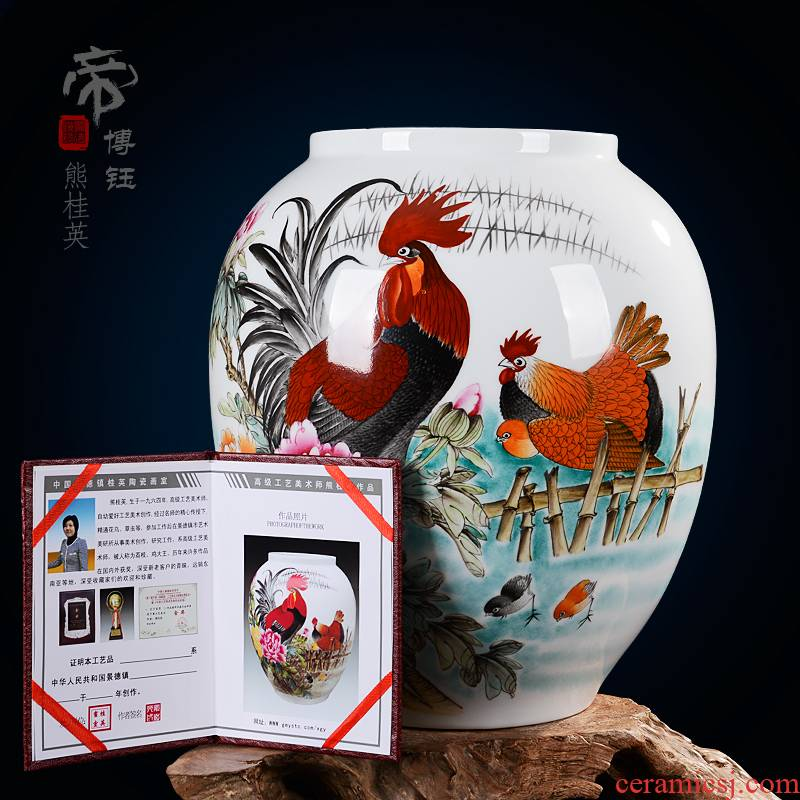 Jingdezhen ceramics famous masterpieces hand - made family vase fashion decoration handicraft furnishing articles in the living room