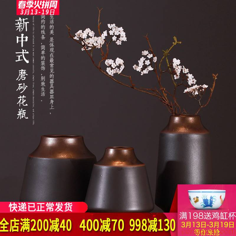 New Chinese style dry flower ceramic vases, Chinese style restoring ancient ways the three - piece furnishing articles zen porch floral version into gifts