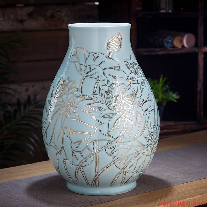 Jingdezhen ceramics vase furnishing articles shadow blue see colour tube of new Chinese style living room flower arrangement home decoration arts and crafts