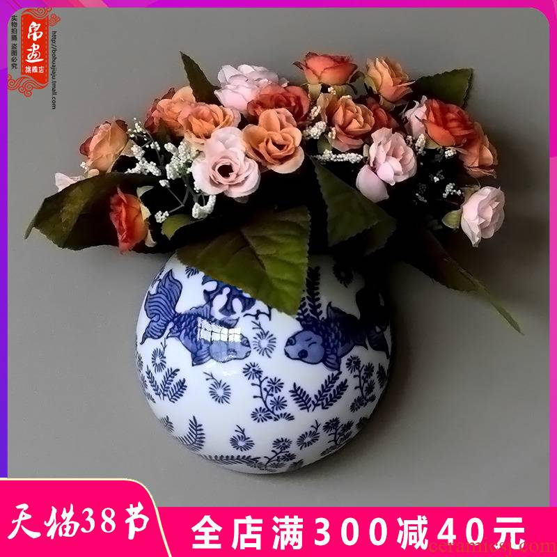 Jingdezhen blue and white porcelain ceramic wall act the role ofing is hanged adorn wall act the role ofing creative sitting room background wall decorative wall hanging pieces of flowers