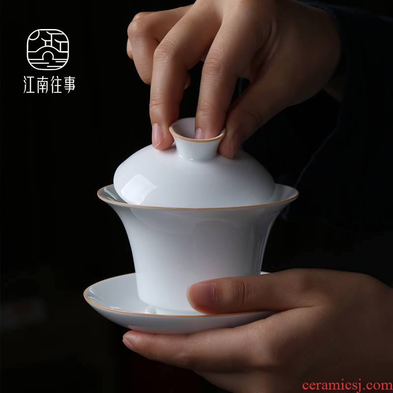Jiangnan ceramic tureen kung fu tea sweet white tea cups past three bowl large household ancient tea cups