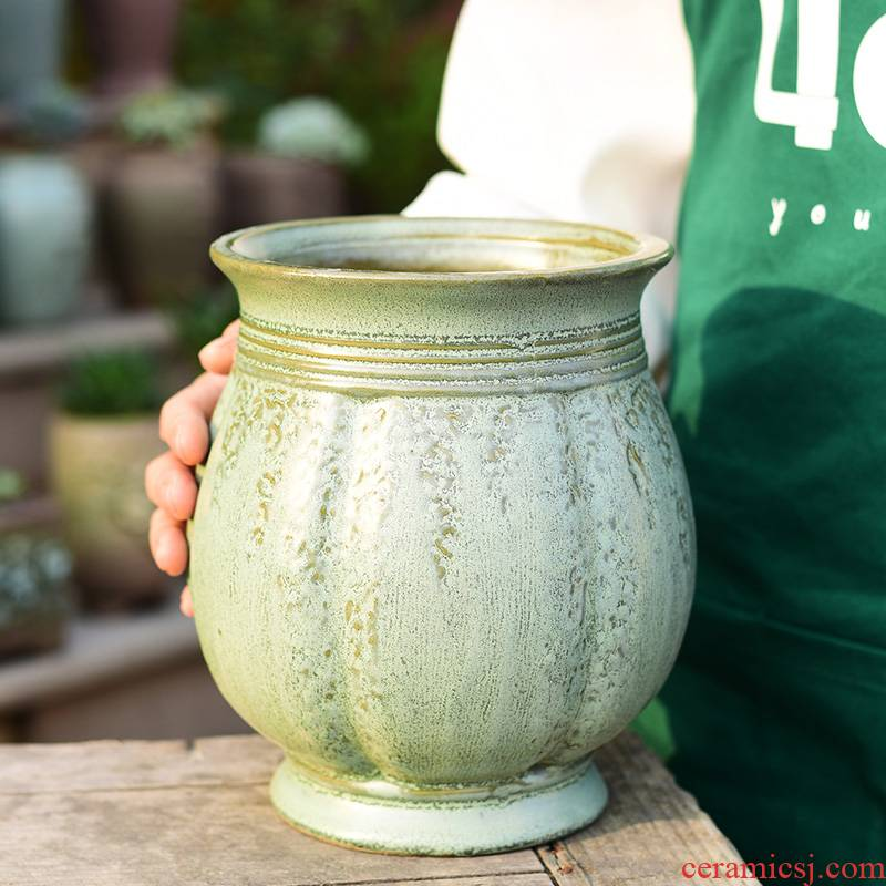 Mage old running the fleshy flowerpot ceramic large household creative green plant pot pot meat meat thick pot the plants