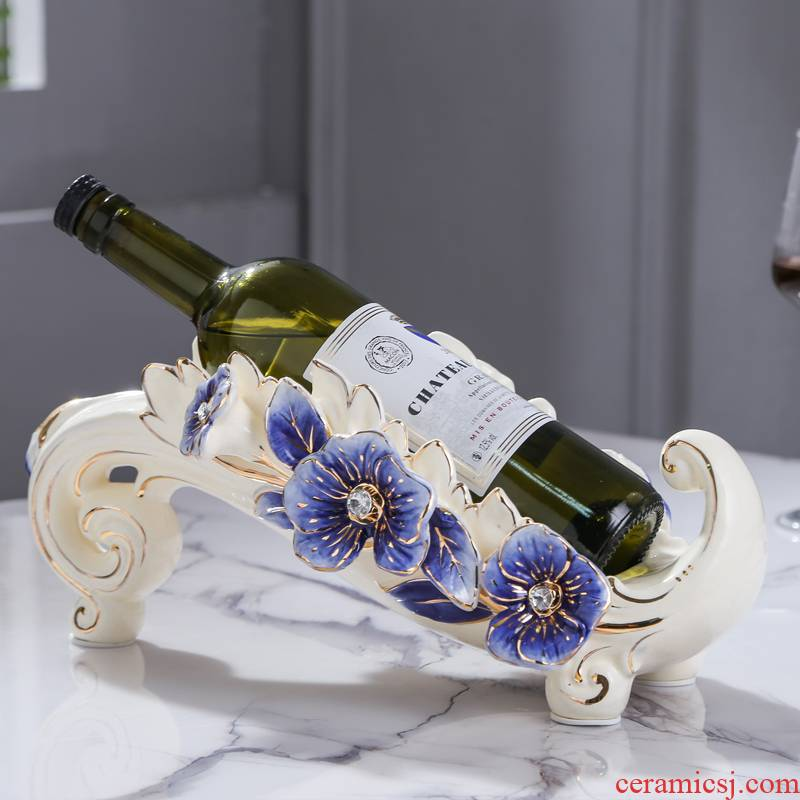 Fort SAN road new royal blue name plum flower series European ceramic wine wine sitting room adornment wine beverage holder furnishing articles