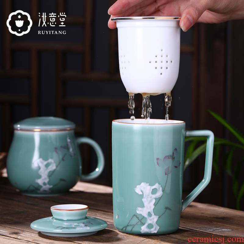 Jingdezhen ceramic keller. Male and female office tea lovers glass a glass office cup for cup with cover