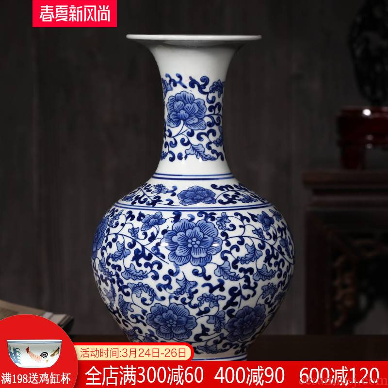 Antique blue and white porcelain of jingdezhen ceramics bound branch lotus bottle of flower arranging furnishing articles rich ancient frame of Chinese style household ornaments