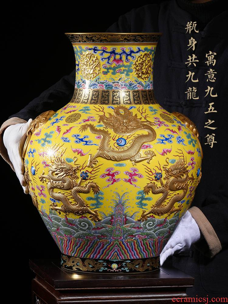 Jia lage jingdezhen ceramic YangShiQi creative hand - made pastel Kowloon lucky gold statute of Chinese vase landing
