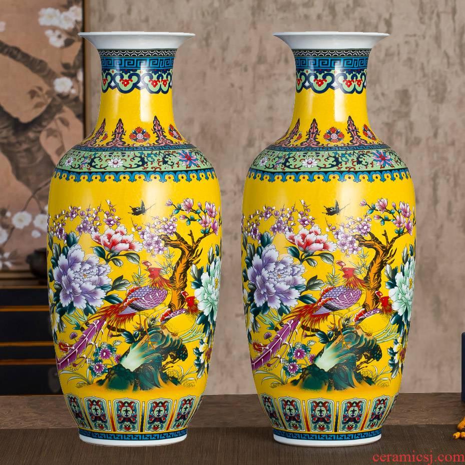 Jingdezhen ceramics colored enamel vase landing large modern Chinese flower arranging sitting room TV cabinet decorative furnishing articles