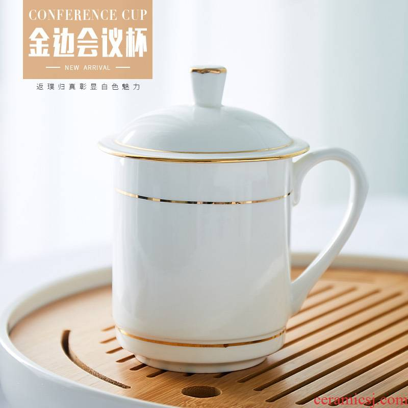 Jingdezhen ceramic cups with cover office cup and meeting room ipads China household glass tea cup custom kei chan cup