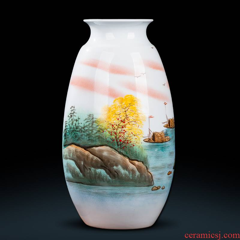 Jingdezhen ceramics hand - made Chinese famille rose porcelain vase furnishing articles of handicraft wine porch sitting room adornment