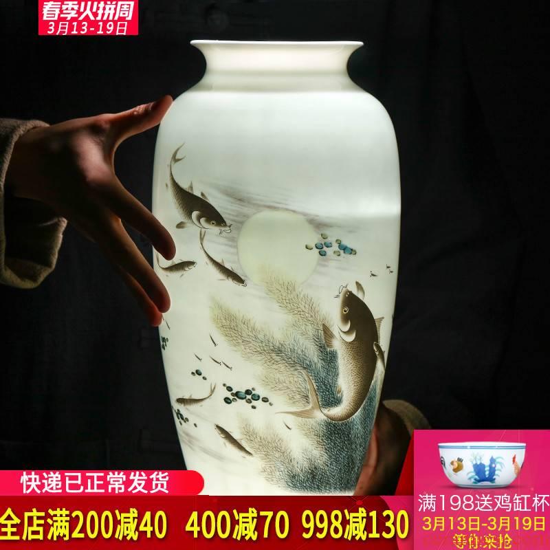 Jingdezhen ceramics powder enamel lotus pond moonlight thin foetus vase Chinese style living room porch home furnishing articles