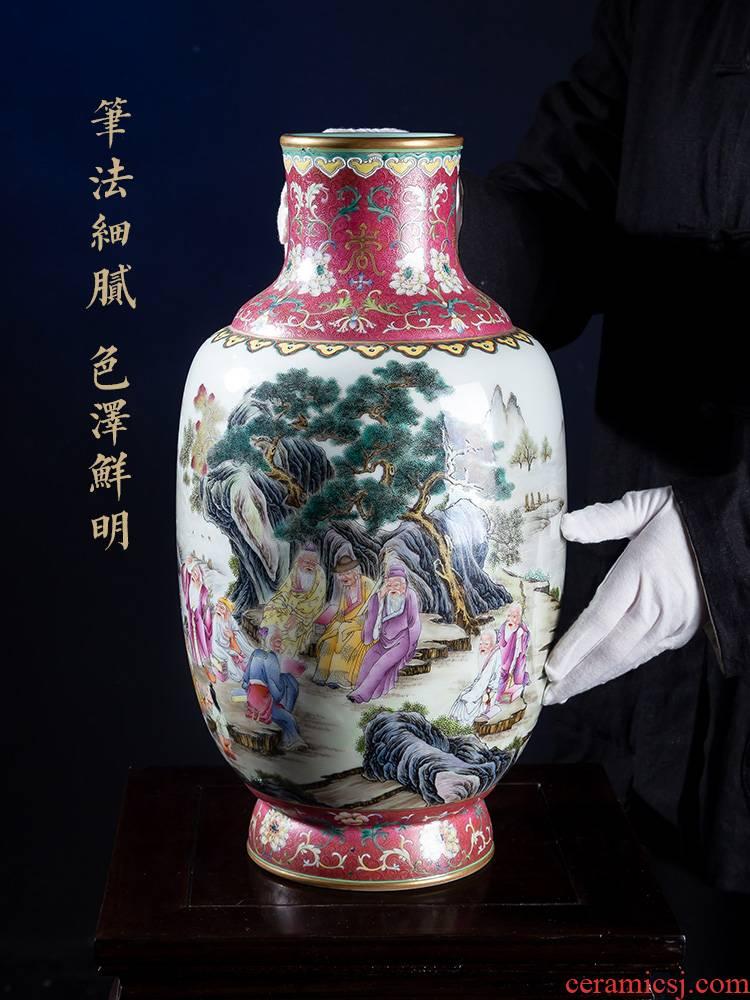 "Jia lage jingdezhen ceramic vase YangShiQi famille rose fragrant hill and name it ""nine old idea gourd bottle of China"