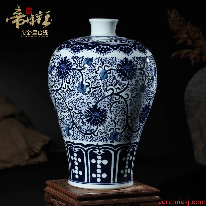 Antique hand - made between blue and white porcelain vase jingdezhen ceramics samples furnishing articles sitting room decoration home decoration process