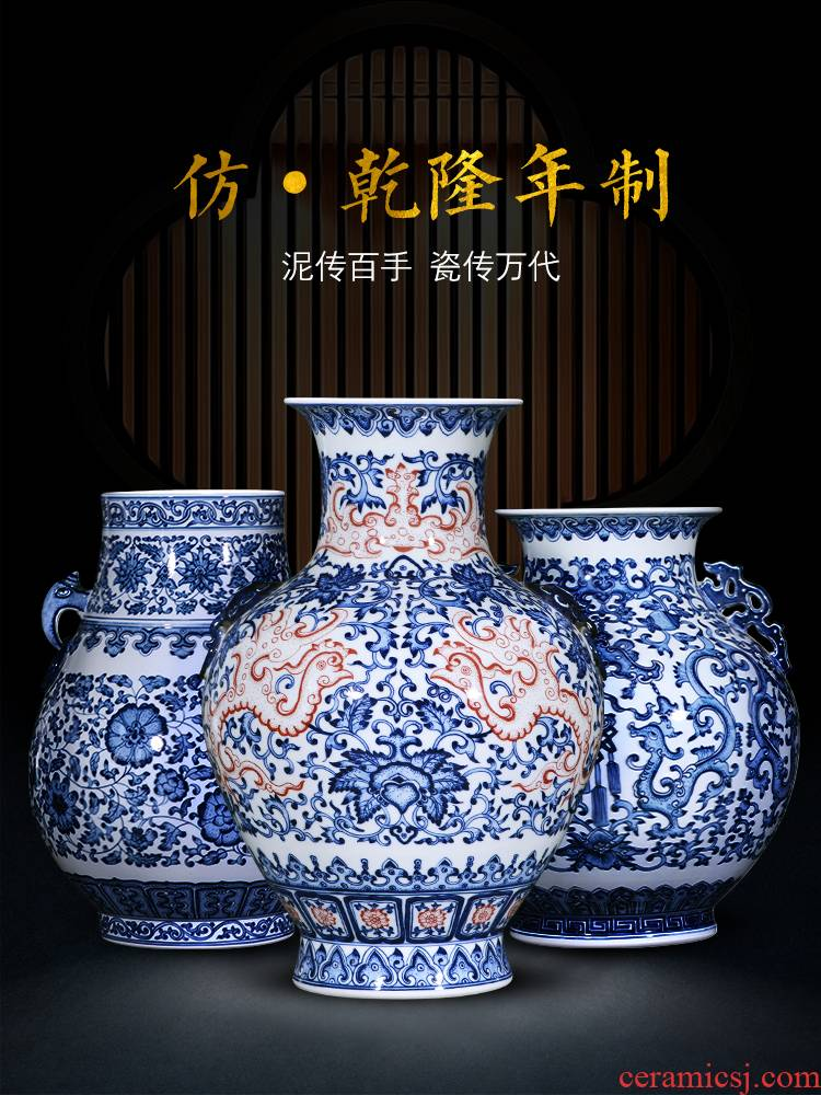 Jingdezhen ceramic vase furnishing articles manual hand - made youligong flower arranging Chinese blue and white porcelain is home sitting room adornment